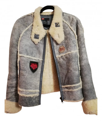 Diesel Grey Leather Leather jackets