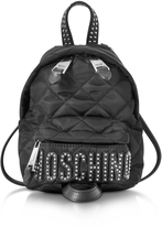 Moschino Black Quilted Nylon Mini Backpack w/Studs