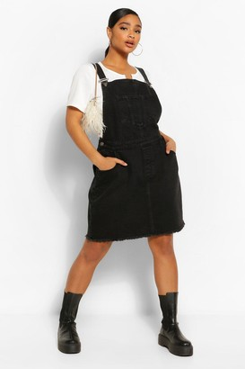 boohoo Plus Denim Pocket Fray Hem Pinafore Dress