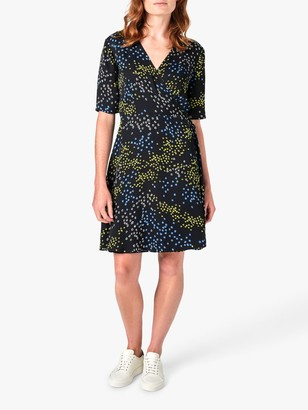 Jigsaw Animal Floral Print Wrap Dress, Slate/Multi