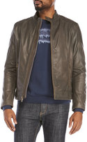 Cole Haan Leather & Brass Moto Jacket