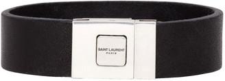 Saint Laurent Black Leather Logo Bracelet