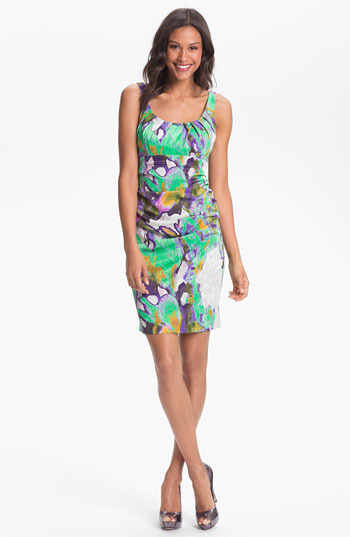 Suzi Chin for Maggy Boutique Ruched Print Sheath Dress