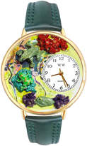Whimsical Watches Personalized Frog Womens Gold-Tone Bezel Green Leather Strap Watch