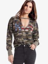 Lucky Brand Kiss Camo Choker Pullover