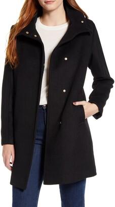 Cole Haan Snap Front Wool Blend Coat