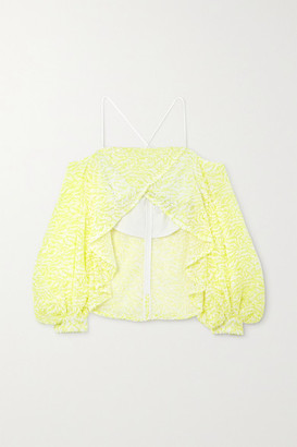 Halpern Off-the-shoulder Asymmetric Sequined Mesh Top - Chartreuse