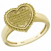 Paradise Jewelers Women's 0.40 CTW Canary Diamond 14k Yellow -Plated Sterling Silver Heart Ring, Size 5