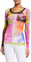 Fuzzi Watercolor Floral Scoop-Neck Long-Sleeve Scallop Trim Top