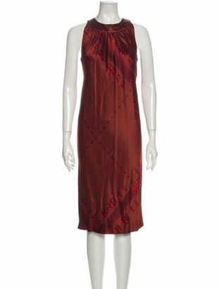 Hermes Silk Midi Length Dress Brown