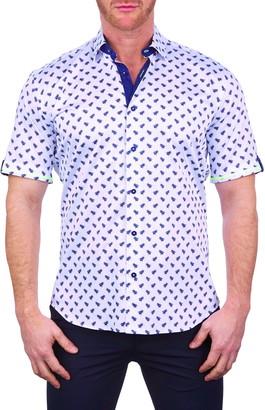 Maceoo Galileo BeeBlue Short Sleeve Button-Up Shirt