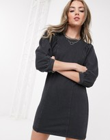 Bershka acid wash sweat dress in black
