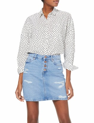 New Look Women's Rip and Repair Placket Mom Skirt