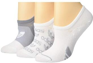 adidas Originals Graphic Super No Show Socks 3-Pack (Light Onix/Clear Onix/White) Women's No Show Socks Shoes