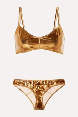 Lisa Marie Fernandez Genevieve Metallic Stretch-pvc Bikini - Bronze