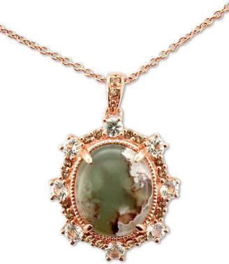 "LeVian Le Vian Peacock Aquaprase (12 x 10mm) & Multi-Gemstone (5/8 ct. t.w.) 20"" Pendant Necklace in 14k Rose Gold"