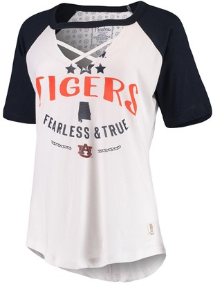 Women's Pressbox White/Navy Auburn Tigers Abbie Criss-Cross Raglan Choker T-Shirt