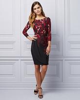 Le Château Floral Knit Wrap Cocktail Dress
