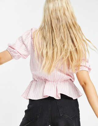New Look frill wrap blouse in pink gingham