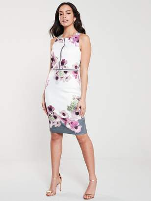 Ted Baker Nanina Neopolitan Buckle Dress - Light Grey