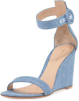 Gianvito Rossi Portofino Denim Wedge 85mm Sandal