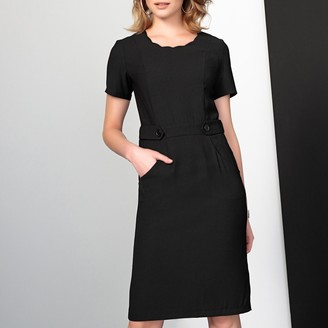 Anne Weyburn Belted Fitted Dress with Scalloped Neck