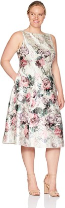 Adrianna Papell Women's Plus Size Printed Jacquard Sleeveless Tea-Length Dress