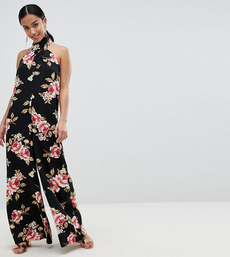 Asos DESIGN Petite Cross Front Jumpsuit With Wide Leg In Floral Print-Multi