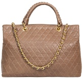 Heather Taupe quilted Italian leather handbag