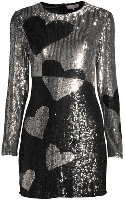 Parker Axel Heart Sequined Sheath Dress