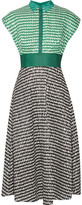Lela Rose Gingham Crinkled-voile Midi Dress - Green