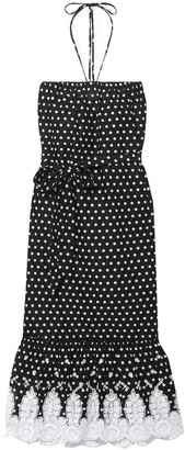 Miguelina Emery Crochet-trimmed Polka-dot Cotton-voile Halterneck Midi Dress