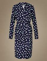 M&S Collection Pure Cotton Spot Print Waffle Dressing Gown