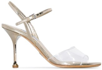 Prada Metallic Gold 90 Strappy Leather Sandals