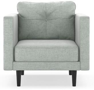 "Cozad 25.25"" Armchair Corrigan Studio Fabric: Blue Topaz 100% Polyester, Leg Color: Black"