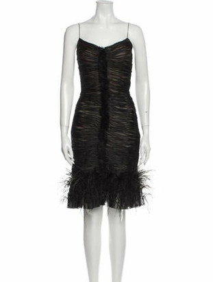 Oscar de la Renta V-Neck Knee-Length Dress Black