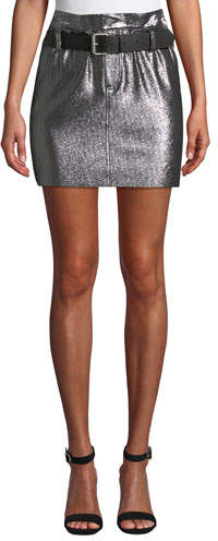 66a2805a1861 Metallic Leather Skirt - ShopStyle
