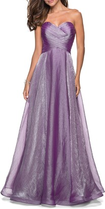 La Femme Strapless Metallic Chiffon Evening Dress