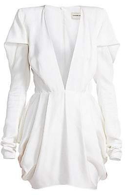 Alexandre Vauthier Women's Pleated Shoulder Deep V-Neck Mini Dress
