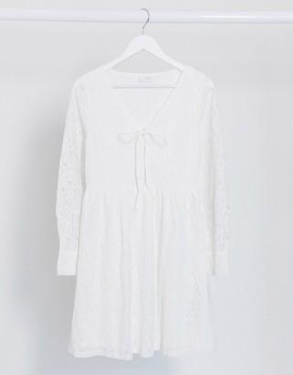 Vila lace up lace dress in white