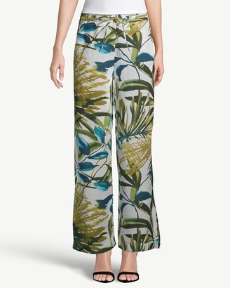 Chico's Wide-Leg Drawstring Leaf-Print Linen Pants