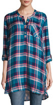 Tolani Joselyn Plaid Tunic w/Printed Back, Teal, Plus Size