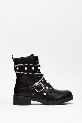 Nasty Gal Womens Who's That Pearl Faux Leather Biker Boots - Black