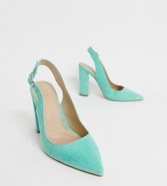 ASOS DESIGN Wide Fit Penley slingback high block heels in aqua