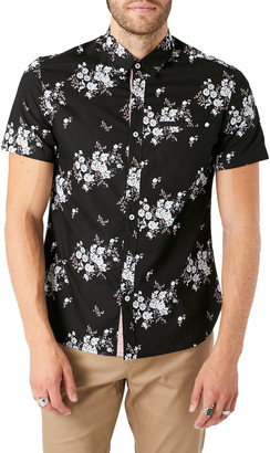 7 Diamonds Maze of Destiny Slim Fit Floral Short Sleeve Button-Up Shirt