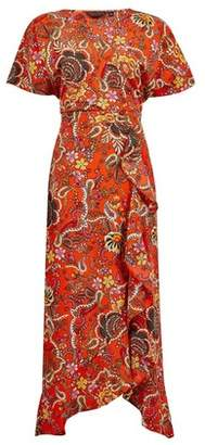 Dorothy Perkins Womens Red Paisley Print Ruffle Wrap Dress, Red