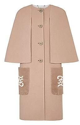 Fendi Women's Double-Faced Wool Karligraphy Shearling-Pocket Cape-Effect Coat
