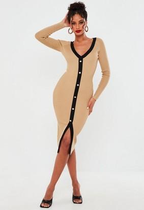 Missguided Camel Button Through Cardigan Dress