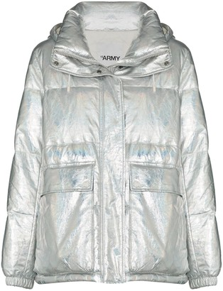 Yves Salomon Metallic Zip-Up Down Jacket