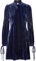 Marc Jacobs Pussy-bow Embellished Velvet Mini Dress - Storm blue